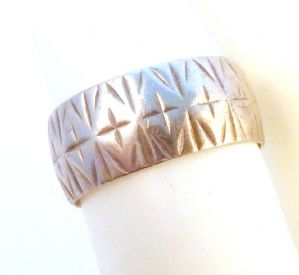 Vintage Sterling Silver Embossed Cross Wide Ring.